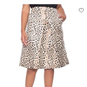 Eloquii Studio Metallic Print Leopard Skirt Sz 18